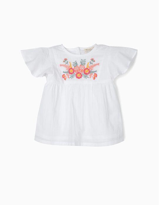 Blusa e Calções para Bebé Menina com Bordados, Branco e Azul