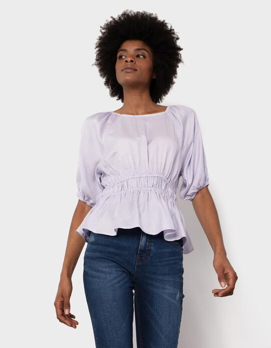 Linen Blouse with Gathers, for Women