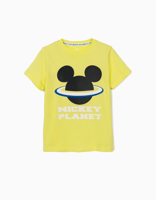 T-Shirt for Boys, 'Mickey Mouse Planet', Lime Yellow