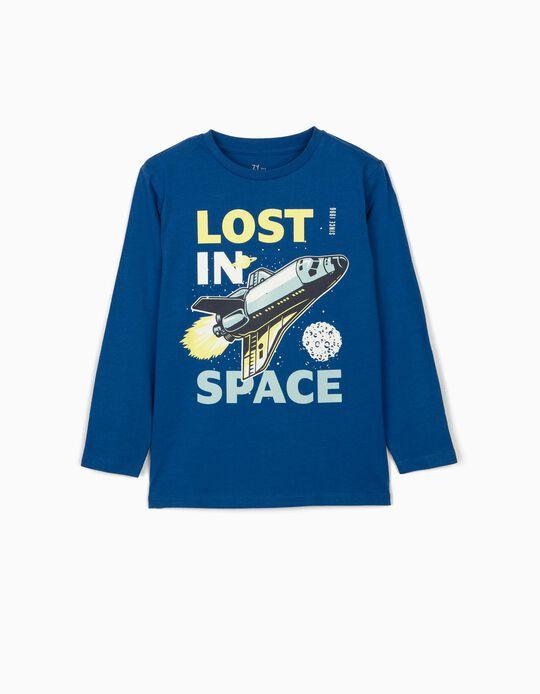 T-shirt Manga Comprida para Menino 'Lost in Space', Azul