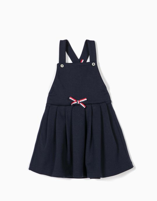 Pinafore with Bow for Baby Girls, Dark Blue