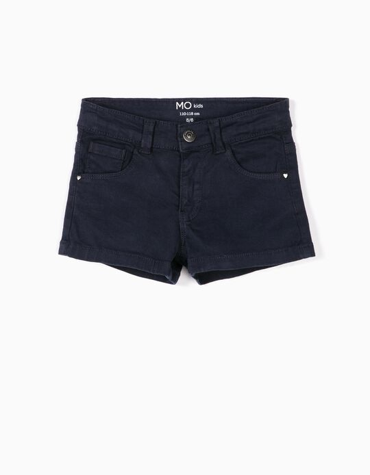 Cropped twill shorts