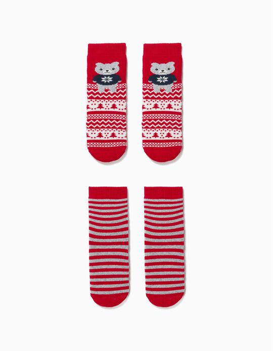 2 Pairs of Non-Slip Socks for Babies, 'Christmas Bear', Red/Grey