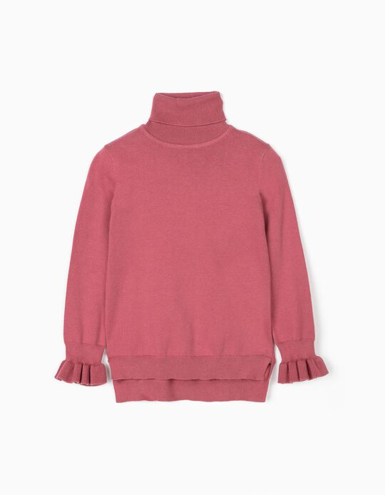 Turtleneck Jumper for Girls, Pink