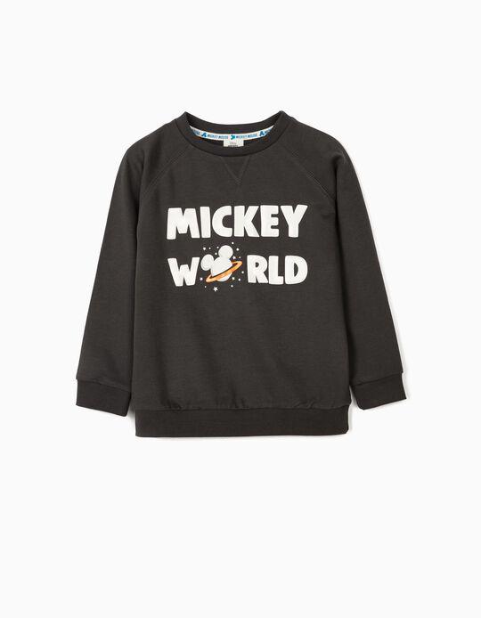 Sweatshirt para Menino 'Mickey World', Cinza Escuro