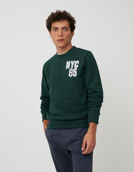 Sweatshirt Piquet, Homem, Verde