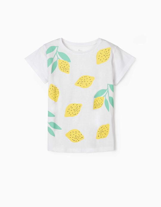 T-shirt for Girls, 'Lemons', White