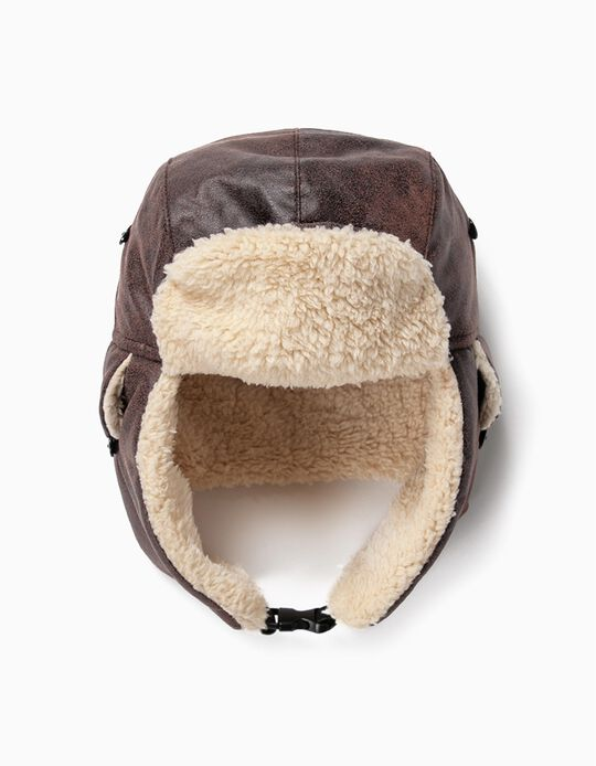 Aviator Hat with Ear Flaps for Boys, Brown