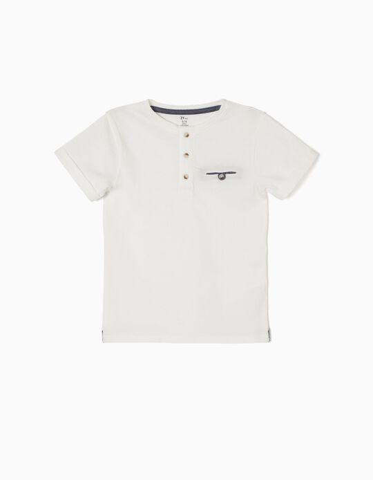 T-shirt com Botões Branca