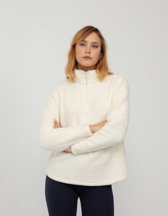 Camisola Efeito Pelo, Mulher, Branco