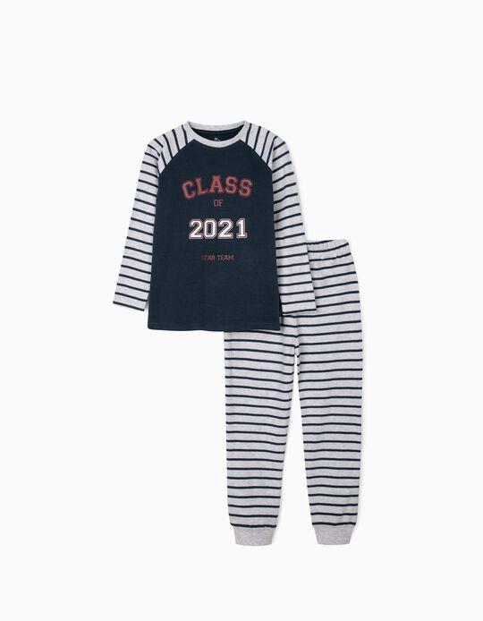 Pijama para Menino 'Class 2021', Azul Escuro/Cinza