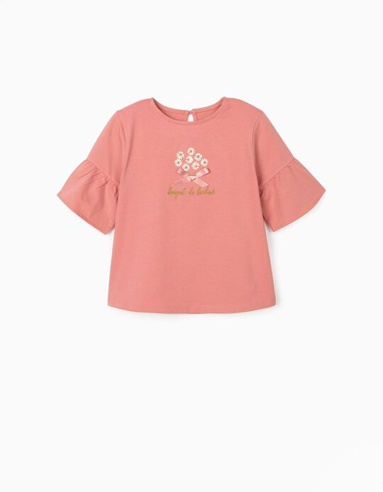 T-shirt with Embroideries for Girls, 'Bouquet the Bonheur', Pink