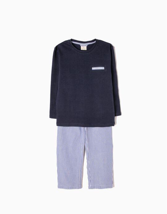 Pijama de Manga Comprida e Calças Azul Riscas