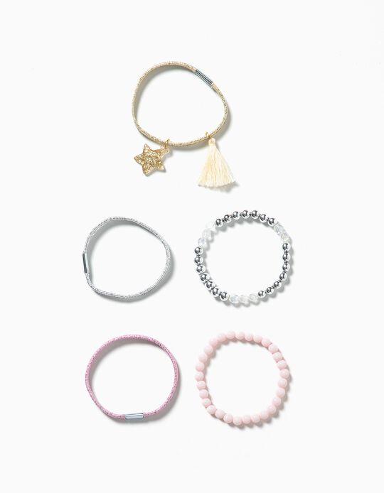 Pack 3 elásticos e 2 pulseiras