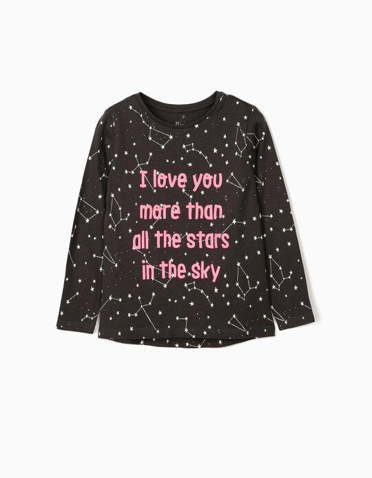 T-shirt Manga Comprida para Menina 'Stars', Cinza Escuro