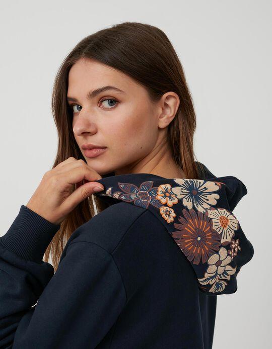 Sweatshirt Capuz Flores, Mulher, Azul Escuro