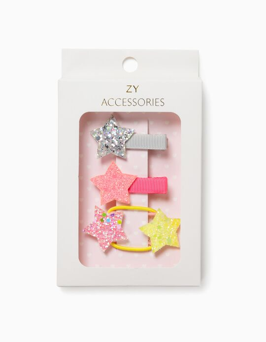 2 Hair Slides + 2 Bobbles for Girls, 'Stars' Multicoloured