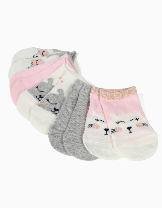 5 Pares de Meias Curtas para Bebé Menina 'Cute Animals', Multicolor