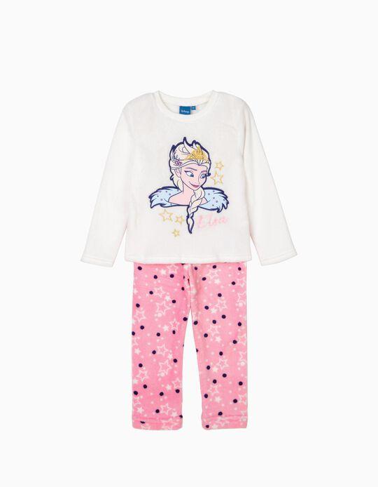 Pijama Elsa Frozen Branco e Rosa