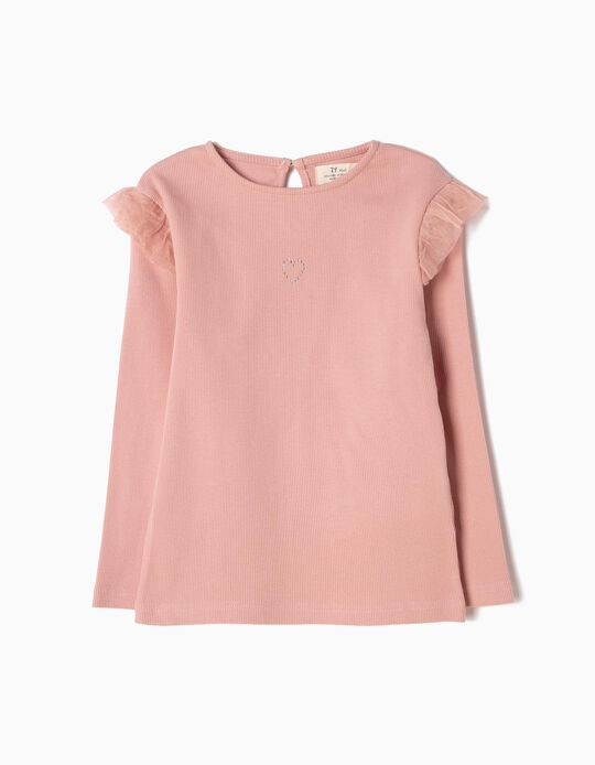 Pink Long-Sleeved Top in Rib Knit