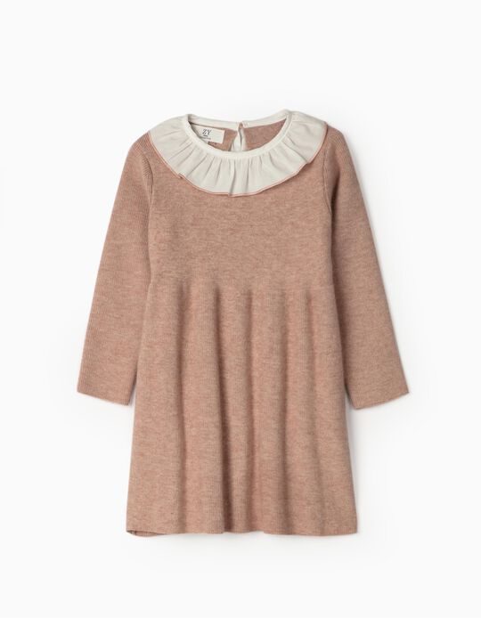 Knit Dress with Ruffles for Baby Girls, Pink