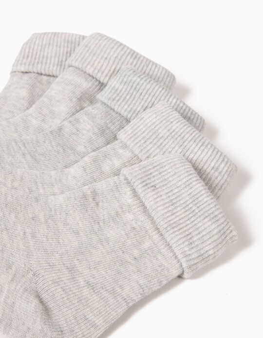 Pack of 5 Pairs of Socks with Turndown, Grey