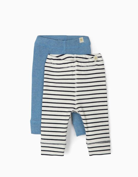 2 Ribbed Leggings for Newborn Boys, Blue/White