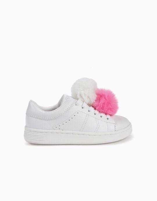 Sapatilhas para Menina ZY com Pompons, Branco