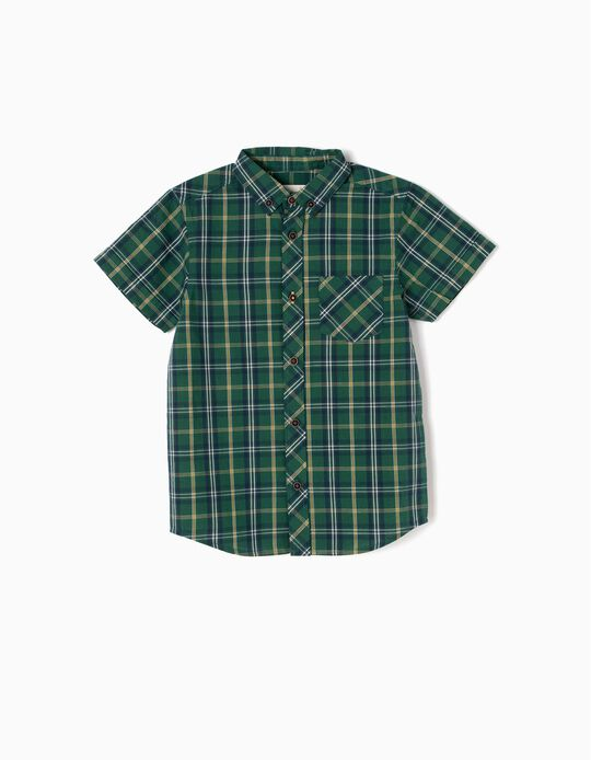 Short-Sleeved Checked Shirt, Green & Yellow