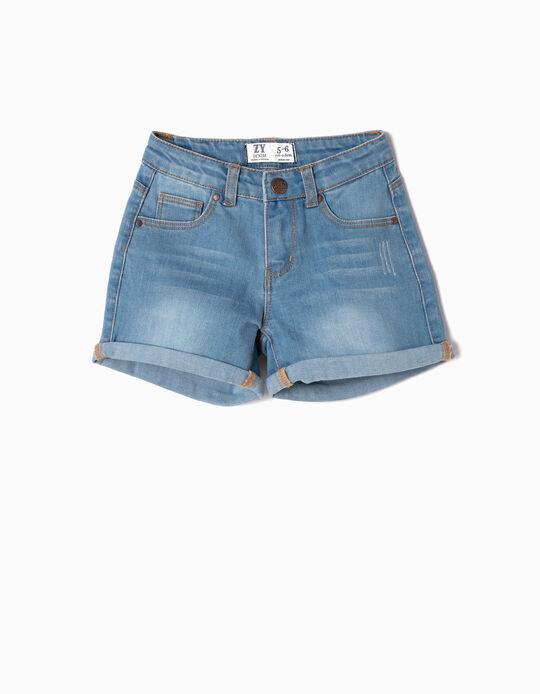 Denim Shorts for Girls, Light Blue