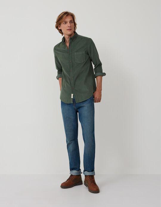 Camisa de Bombazine, Homem, Verde