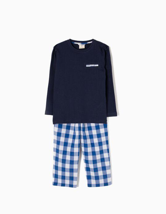 Pijama Mangas Compridas Xadrez