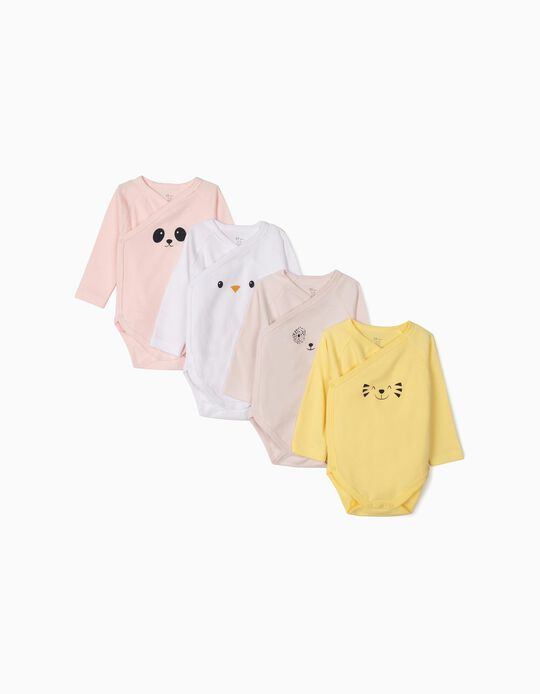 4-Pack Long-sleeve Bodysuits for Baby Girls 'Animals', Multicolour