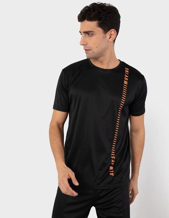 T-shirt with Panel in Breathable Fabric
