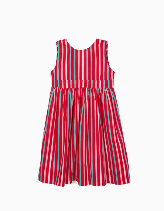 Striped Dress for Girls, Red
