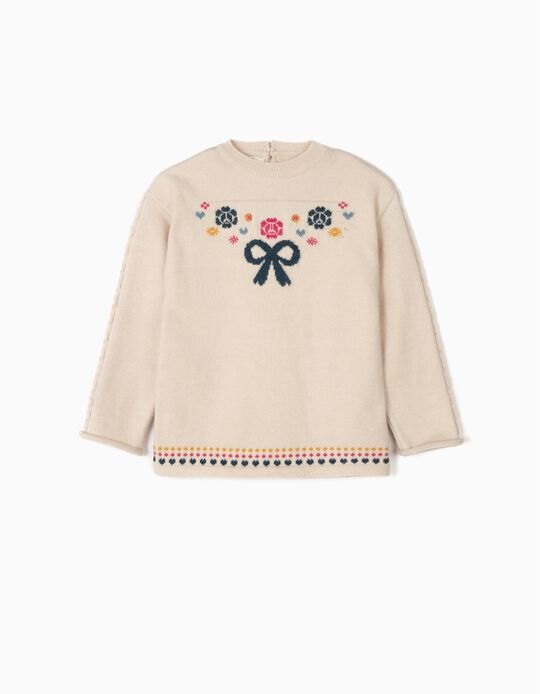 Knit Jumper for Girls 'Bow', Beige
