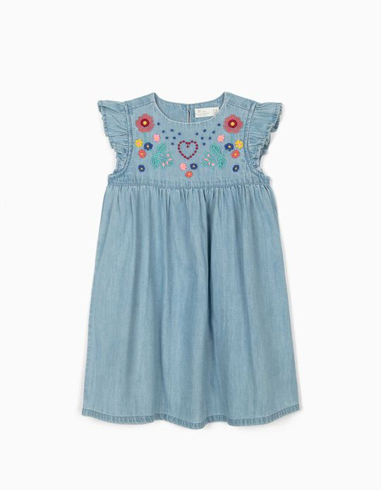 Denim Dress with Embroideries for Girls, Blue