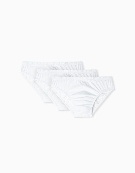 3 Pairs Cotton Briefs for Men, White