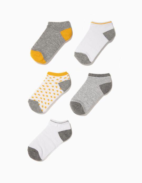 5 Pares de Meias Curtas para Menino 'Stripes & Stars', Multicolor