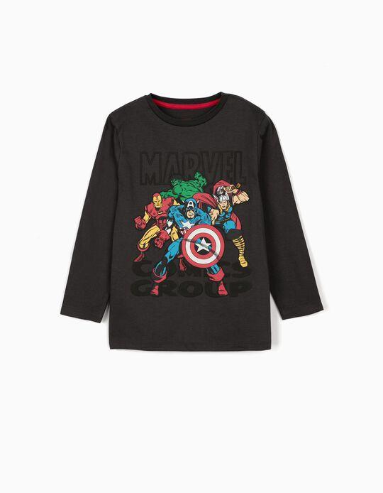 T-shirt Manga Comprida para Menino 'Avengers', Cinza Escuro