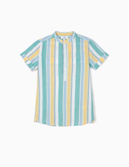 Camisa para Menino com Gola Mao e Riscas, Multicolor