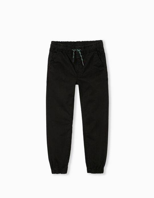 Stretch Twill Trousers for Children, Black