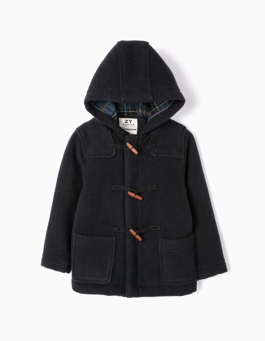 Hooded Duffle Coat for Boys, Dark Blue
