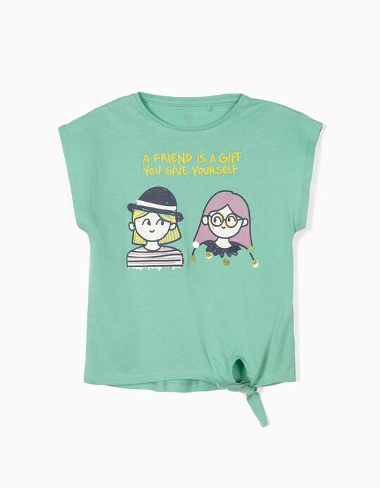 T-shirt para Menina 'Friends' com Nó Frontal, Verde