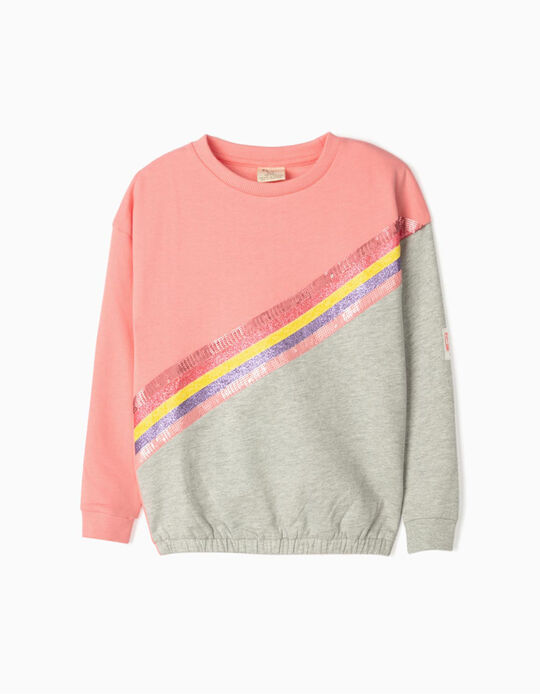 Sweatshirt para Menina 'Cosmic Little World', Rosa/Cinza