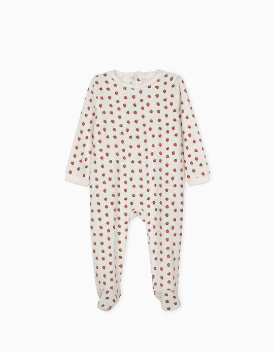 Long Sleeve Sleepsuit, Strawberries