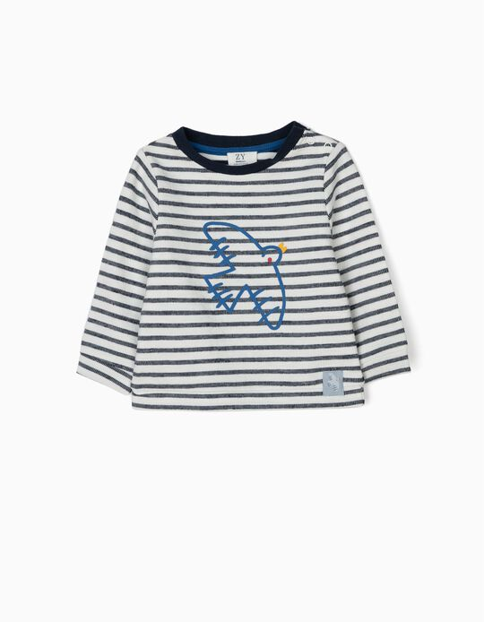 Sweatshirt for Newborn 'Bird', White/Blue