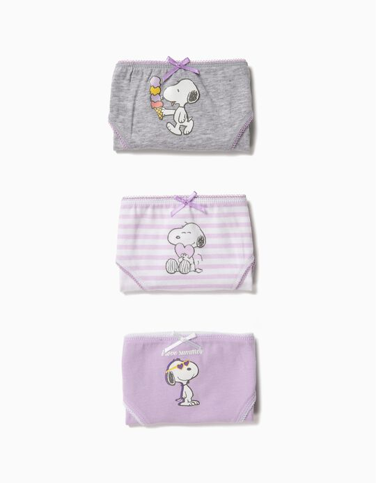 3-Pack of Briefs for Girls 'Snoopy', Lilac