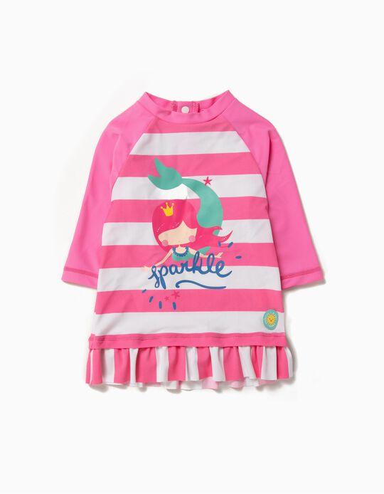 T-shirt de Banho para Bebé Menina 'Mermaid' Anti-UV 80, Branco e Rosa