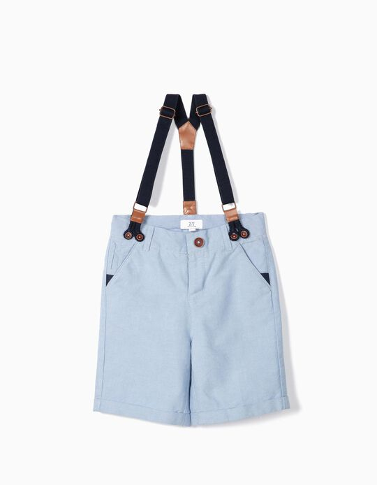 Shorts for Boys with Suspenders, Blue